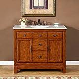 bathroom vanity one sink. Silkroad Exclusive Countertop Cream Marble Stone Single Sink Bathroom Vanity  with Bath Cabinet 42 Amazon com One Vanities