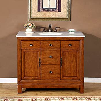 Delicieux Silkroad Exclusive Countertop Cream Marble Stone Single Sink Bathroom Vanity  With Bath Cabinet, 42
