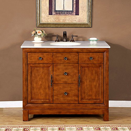 (Silkroad Exclusive HYP-0911-CM-UWC-42 Countertop Cream Marble Stone Single Sink Bathroom Vanity with Bath Cabinet, 42