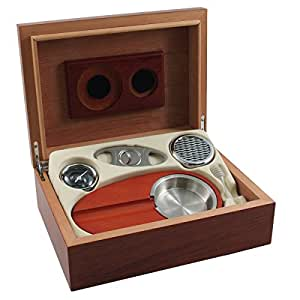 Burl Wood Humidor 6 Piece Cigar Gift Set with Ashtray and Cutter