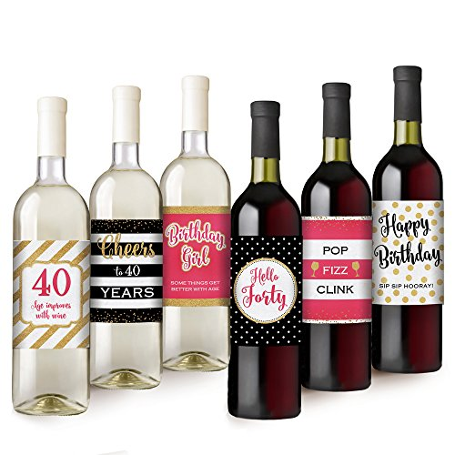 Hello Forty | 40th Birthday Gift For Women | Birthday Party Decorations and Supplies | Set of 6 (Wine Bottle Decoration Ideas)