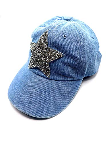 (Sherel's New York, Women's Fashion, Denim Sparkle Star Baseball Cap (Light Denim))