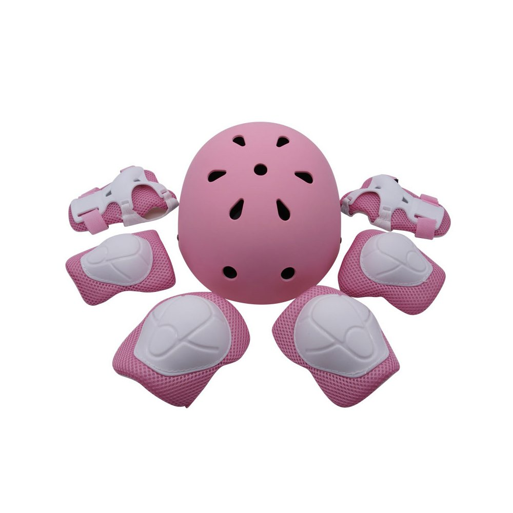 Kiwivalley Kids Boys and Girls Outdoor Sports Protective Gear Safety Pads Set [Helmet Knee Elbow Wrist] for Rollerblades, Scooter, Skateboard, Bicycle, Rollerblades (Pink)