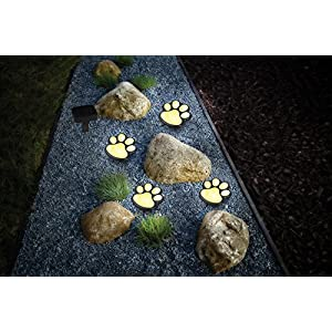 Paw Print Solar Garden Lights - Set of 4 Solar Powered LED Lights - Dog Puppy Pet Animal Paws Design Outdoor Landscape Lighting for Lawn Decor Gardening Landscaping Yard Pool Parties by Ideas In Life