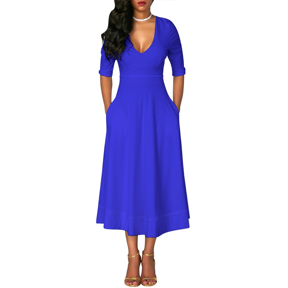 bluee vnytop Women Casual Solid VNeck 1 2 Sleeve Pockets Zipper Empire Fit Flared Midi Dress
