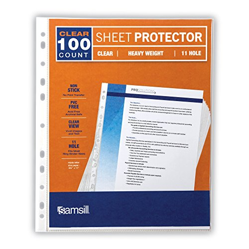 Samsill 11 Hole Sheet Protectors, Heavyweight Clear Plastic Page Protectors, Box of 100, Acid Free / Archival Safe, Top Load 8.5 x 11 Inches by Samsill