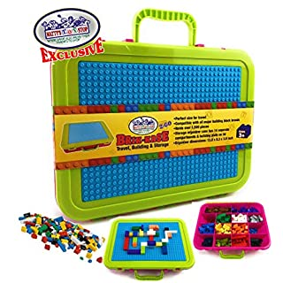 "Matty's Toy Stop Brik-Kase 2-GO 13"" Travel, Building, Storage & Organizer Container Case with Building Plate Lid (Holds Approx 1,500pcs) - Compatible with All Major Brands (Pink, Lime & Aqua)"