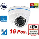 Evertech 2.1MP 1080P HD Day Night Vision Manual Zoom Outdoor Indoor Dome CCTV Security Camera Compatible AHD TVI CVI and Traditional Analog DVRs with Free CCTV Warning Sign (16 pcs. 1080P)