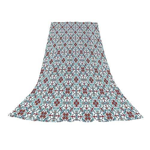 (YOLIYANA Vintage Stylish Beach Towel,Ethnic Antique Floral Pattern Italian Majolica Style Ornate Illustration for Beach,57