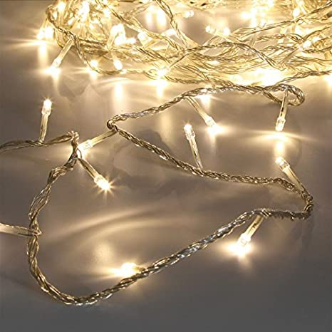 Amber Festive Lights 40 LED Fairy String Lights on 3.2m Clear Cable by
