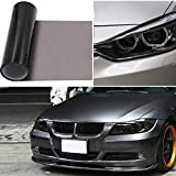 "2pcs-in-1roll 12""x48"" Car Smoke HeadLight Tint Wrap, GOGOLO Waterproof Fog Light Adhesive Vinyl Tint 90% Transmittance Taillight Film Sheet Sticker for Vehicle Motorcycles Lamp and Window Windshield Protection (Black)"