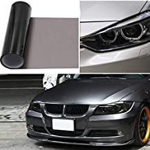 """2pcs-in-1roll 12""""x48"""" Car Smoke HeadLight Tint Wrap, GOGOLO Waterproof Fog Light Adhesive Vinyl Tint 90% Transmittance Taillight Film Sheet Sticker for Vehicle Motorcycles Lamp and Window Windshield Protection (Black)"""