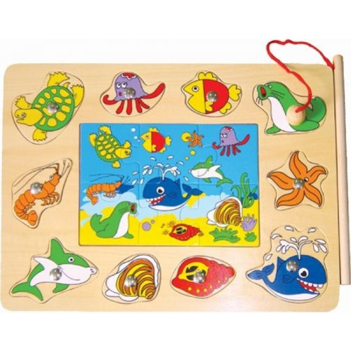 Dual Wooden Board Jigsaw & Magnetic Puzzle For Children For Early Childhod Learning & Coordination Developemnt - Ocean Life Fishing