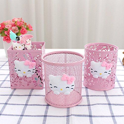 Yichener Hello Kitty Pink Hollow Pencil Holder Desktop Storage Box Metal Pen Holder Cute Student Fashion Office Supplies]()
