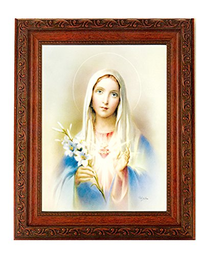 """- Immaculate Heart of Mary Print in a Fine Detailed Ornate Antiqued Mahogany Finished 10.25"""" X 12"""" Frame"""