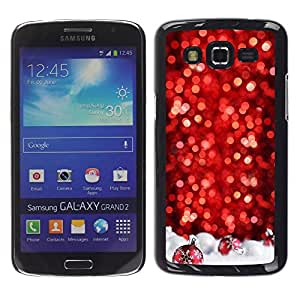 LECELL--Funda protectora / Cubierta / Piel For Samsung Galaxy Grand 2 SM-G7102 SM-G7105 -- Chrismas Red Tree Decorated White --