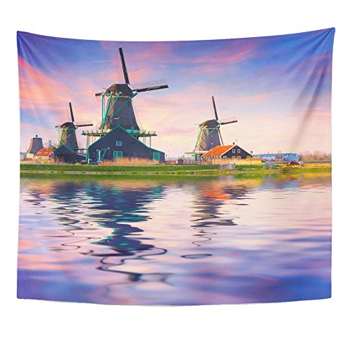 Emvency Tapestries Print 50x60 Inches Authentic Zaandam Mills on The Water Channel in Zaanstad Village Zaanse Schans Wall Hangings Home Decor