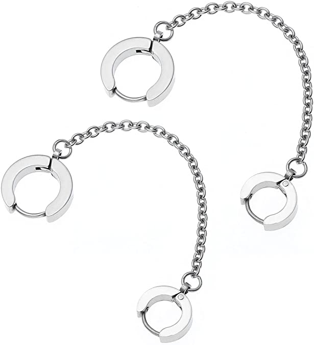 Sterling Silver 925 Handcuff Double Huggie Hoop Drop Earrings