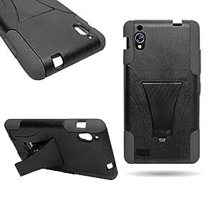 CoverON® Kickstand Hard + Soft Dual Layer Hybrid Case for BLU Vivo 4.8 HD D940A - Black Hard Gray Soft Silicone