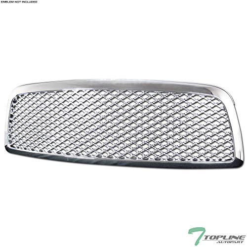 Topline Autopart Chrome Sport Mesh Front Hood Bumper Grill Grille Cover 1PC For 09-12 Dodge Ram 1500