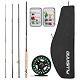 PLUSINNO Fly Fishing Rod and Reel Combo,5/6 9'Lightweight Ultra Portable Graphite Pole with Toray Carbon Fiber Blanks,Chromed Stainless Steel Snake Guides 4-Piece