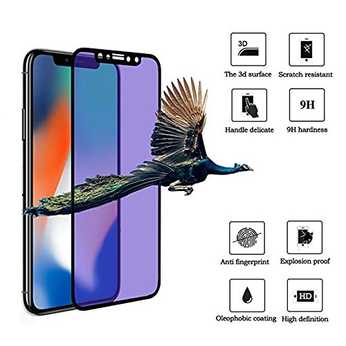Anti Blue Ray Screen Protector for iPhone X, Pavoscreen 3D Touch Screen Cover Easy Install Anti Scratch Fingerprint-Proof Full Coverage Blue Light Filter for iPhone X/10 (5.8inch)