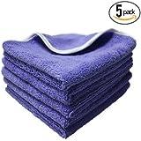 "(5-Pack) THE RAG COMPANY 16 in. x 16 in. Professional Korean 70/30 Plush Dual-Pile Microfiber Auto Detailing Towels ""Split Purple-Nality"""