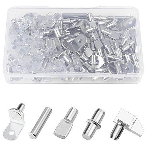 Sutemribor 100PCS Nickel Plated Shelf Bracket Pegs Cabinet Furniture Shelf Pins Support (5 Styles) (Shelf Cabinet Supports)
