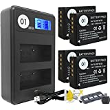 DOT-01 4x Brand 1800 mAh Replacement Fujifilm NP-W126 Batteries and Smart LCD Display Dual Charger for Fujifilm X-T2 Digital Camera and Fujifilm NPW126 Accessory Bundle