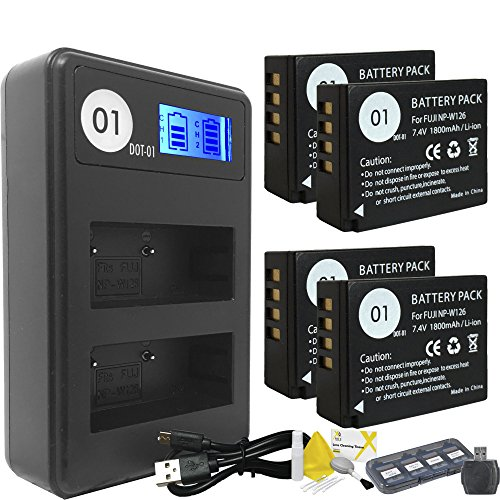 DOT-01 4X Brand 1800 mAh Replacement Fujifilm NP-W126 Batteries and Smart LCD Display Dual Charger for Fujifilm X-PRO2 Digital Camera and Fujifilm NPW126 Accessory Bundle by DOT-01