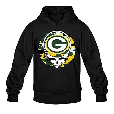 AK79 Men's Sweater Green Bay Skull Packers Grateful Size L Black (Green Bay Packers Hat Scarf)