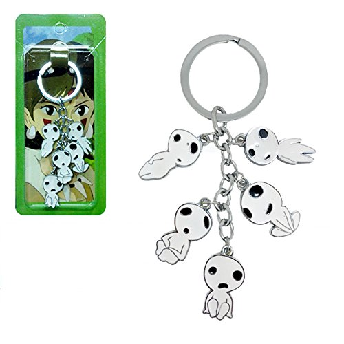 zZZ Princess Mononoke Kodama Keychain Tree Spirit Colored Metal Lobster Pendant Hanging Buckle with Ring