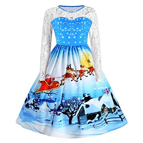 Christmas Dresses, Women Vintage Santa Snowflake Print Lace Long Sleeve Dress Skirt Rakkiss (Stretch Gored Skirt)