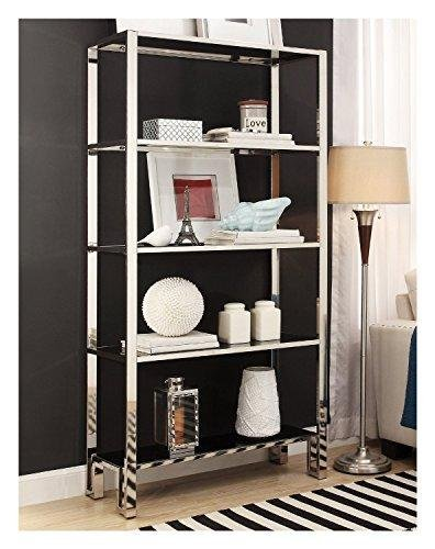 (ModHaus Modern Mirror Finish Chrome Bookcase with 5 Black Tempered Glass Shelves - 36 Wide x 73 Height x 15 Depth inches Indoor Includes ModHaus Living (TM) Pen)