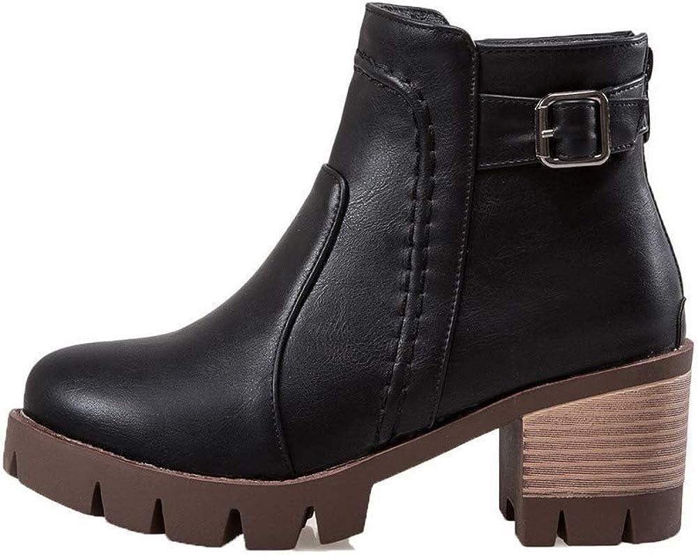 AllhqFashion Womens Kitten-Heels Solid Round-Toe Pu Zipper Boots FBUXD128351