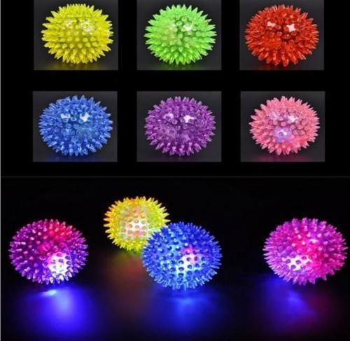 Mini Elastic Light-up Spike Ball with LED flash light up for fun/Games (6 -