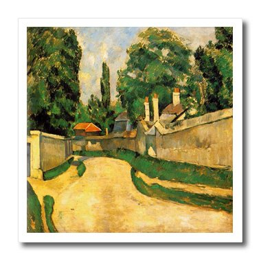 3dRose Florene - Post Impressionism - image of Cezanne painting bord route landscape - 6x6 Iron on Heat Transfer for White Material (ht_174685_2)