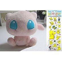 Pokemon Plush Toy - Mew Doll Around 15cm 6 Inch + Pokemon Sticker