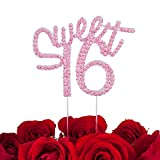 LOVENJOY with Gift Box Sweet 16 Sixteen Milestone Happy Birthday Cake Decoration Topper Hot Pink (5-inch)