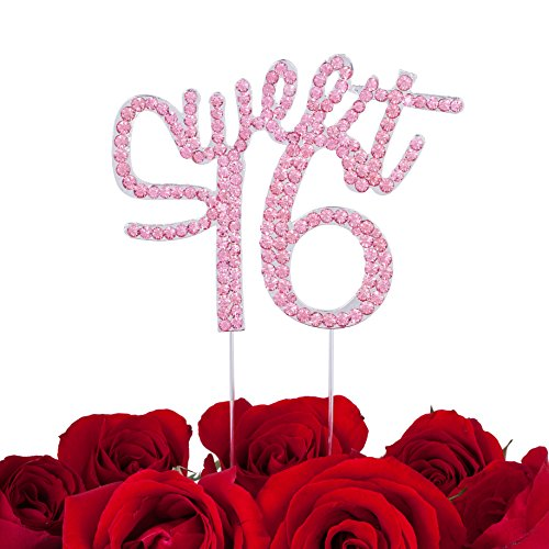 LOVENJOY with Gift Box Sweet 16 Sixteen Milestone Happy Birthday Cake Decoration Topper Hot Pink (5-inch) by LOVENJOY