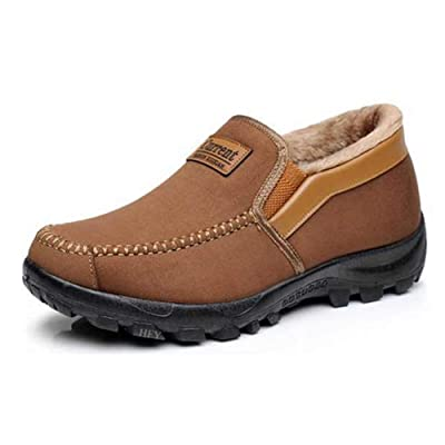Men's Moccasins Slippers Slip-on Plush Loafers Warm Fur Lined Walking Driving Shoes Indoor Outdoor Short Boot Winter Snow Boots | Snow Boots