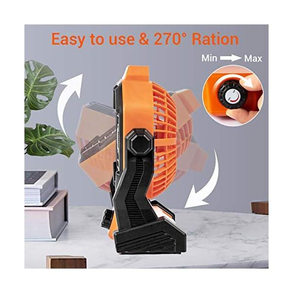 518T6nZVP1L Camping Ventilator Lureshine Tischventilator mit Led Licht Batterie USB Ventilator Leise Turbo ventilator Campinglüfter…