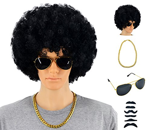 70s 80s 90s Disco Rock Star Heavy Metal Costume Mega-Huge Wig Set with Sunglasses & Necklace & Fake Mustache -