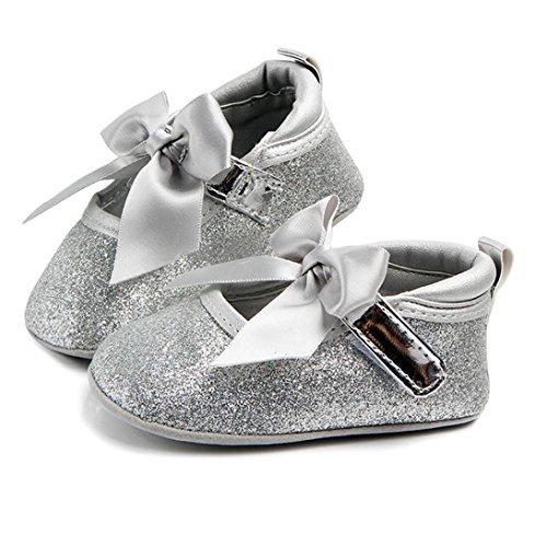 Huhu833 Neugeborene Säuglingsbaby Mädchen Soft Crib Schuhe,Bowknot rutschfeste Prinzessin Schuhe (6~18 Month) Silber