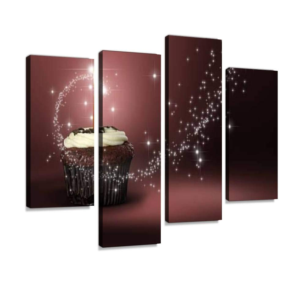Red Velvet Cupcake Heaven Canvas Wall Art Hanging Paintings Modern Artwork Abstract Picture Prints Home Decoration Gift Unique Designed Framed 4 Panel by Weone Artwork