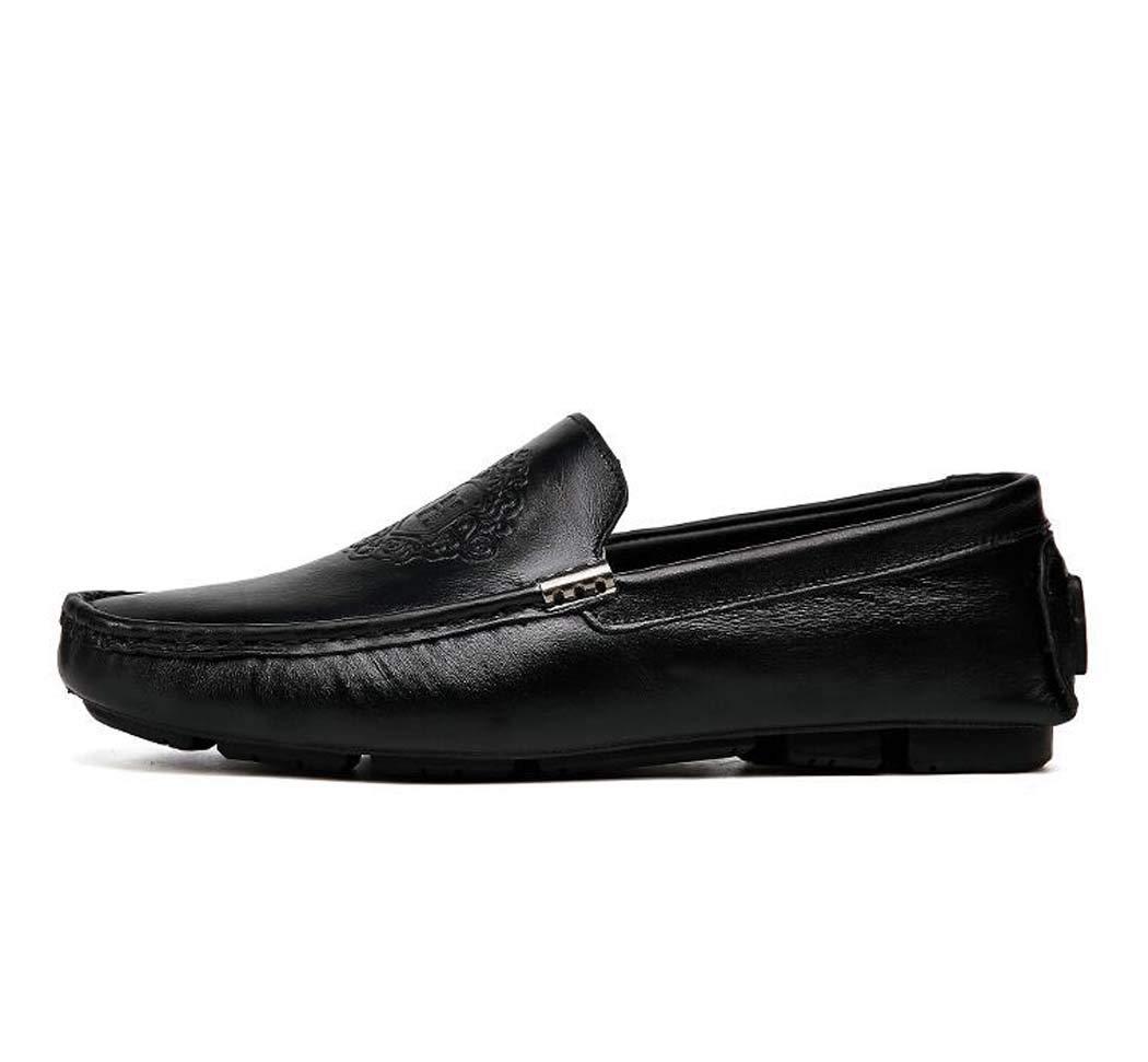 Mocasines para Hombres-Zapatos de Barco-Zapatos de conducción deslizantes-Zapatos de Guisantes-Zapatos Planos 45 EU|Negro