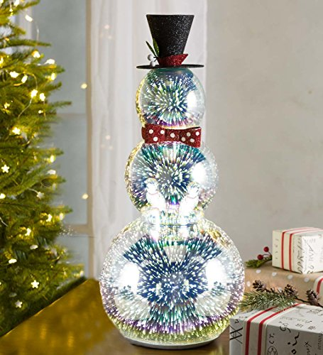Glass Snowman with 3D Light Effects - 10 dia. x 23 H - Tall