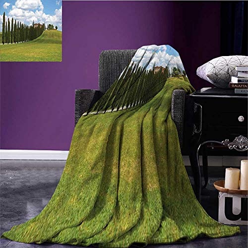 "RenteriaDecor Tuscan Lightweight Blanket Landscape Abandoned Farm House Vineyard on Hill Tall Trees Village Path Lightweight All-Season Blanket Green and Pale Blue Bed or Couch 60""x35"""