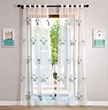 WPKIRA Sheer Curtains Grommet Embroidered Blue Clouds Rainbow Voile Window Treatment Curtain Sheer Curtains Panels for Living Room Home Decor Drapes for Kids Room 1 Panel W75 x L96 inch For Sale