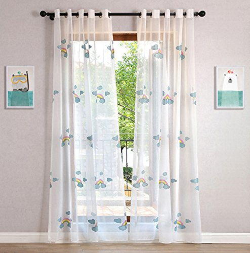 WPKIRA Sheer Curtains Grommet Embroidered Blue Clouds Rainbow Voile Window Treatment Curtain Sheer Curtains Panels for Living Room Home Decor Drapes for Kids Room 1 Panel W75 x L96 inch